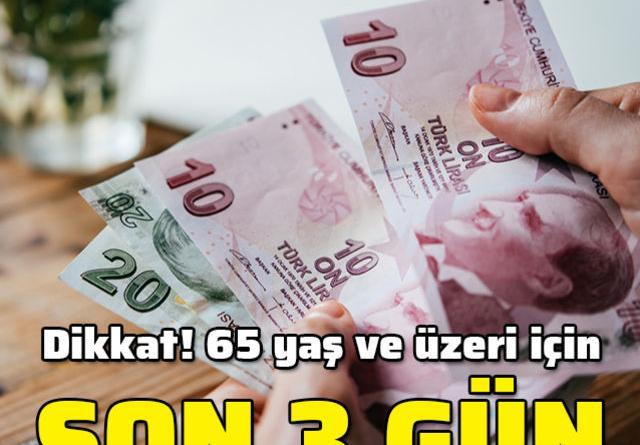 65 yaş ve üzerinin vergi beyannameleri için son 3 gün